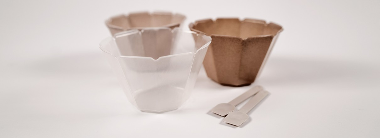 Ice cream cups and spoons